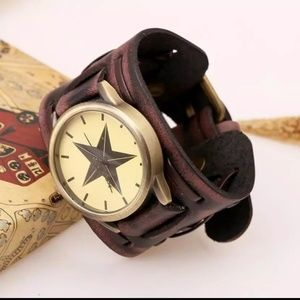 Other - Retro Leather Wide Band Punk Fashion Watch